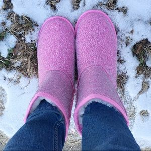 Women's Sparkly frosted pink Winter boots